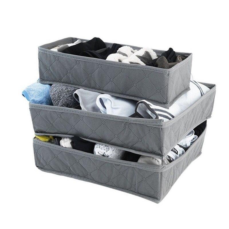 3Pc/Set Foldable Scarfs Socks Storage Box Underwear Bra Organizer Drawer Closet Organizers Boxes Bamboo Charcoal Packing Grey