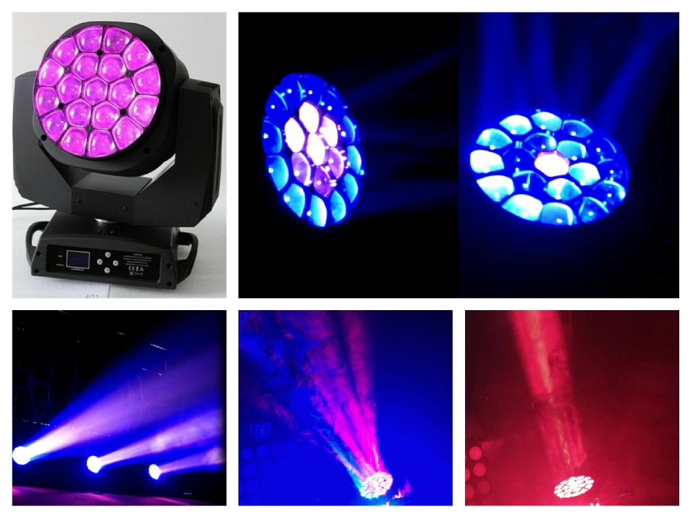 2pcs/lot, Zoom LED Moving Head Bee Eyes Osram 19x15W RGBW 4in1 LED Quad Beam Lights b eye dmx