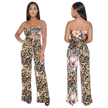2019 Womens Strapless Crop Top And Wide leg Pants 2 Pieces Set Summer Fashion Ladies Sexy Workout Leopard Printed Tracksuit