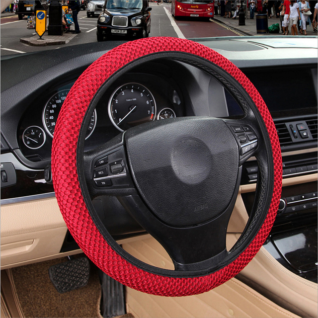 4 Clolors Skidproof Durable Car Steering Wheel Cover Sandwich Fabric Handmade Auto Covers Fit For Most Cars Breathability