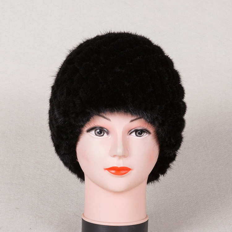 New Fashion Genuine Real Natural Knitted Mink Fur Hat Women Hand Made Knit Fashion Winter Headgear Berets Cap H602