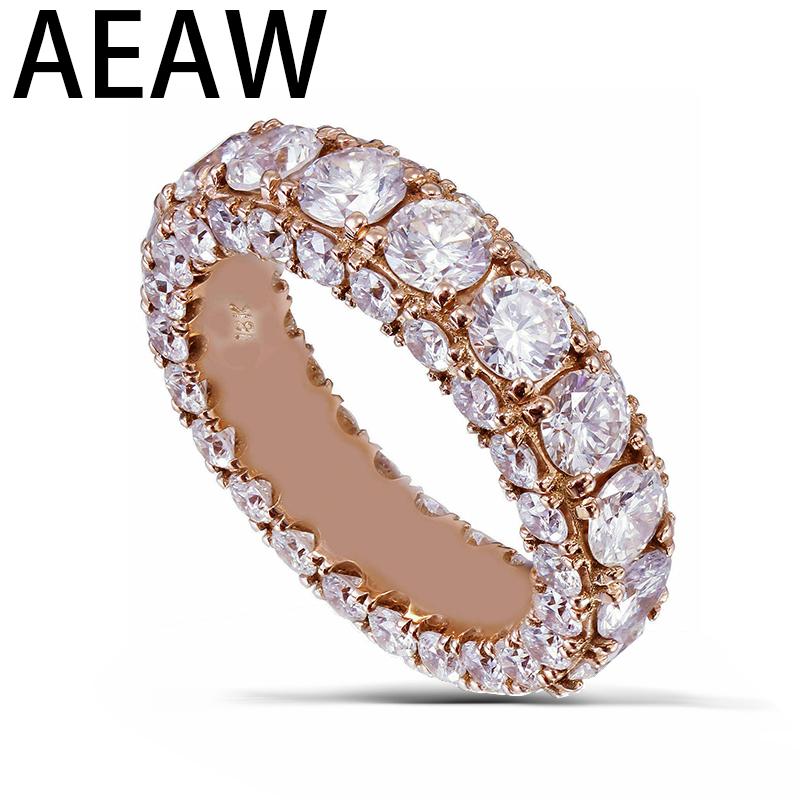Solid 14k rose gold round cut 3mm Moissanite diamonds band eternity three sided style 4.00ctw