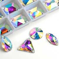Commercio all'ingrosso! 8 tipi AAAAA Cristallo AB di Colore Dorato di Base Sew On Perline Con Strass, cuce Sulle Pietre Del Distanziatore pulsanti per Abbigliamento Gioielli