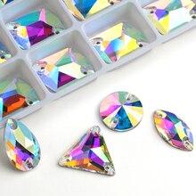 Venda por atacado! 8 tipos aaaaa cristal ab cor base dourada costurar em grânulos de strass, costurar em pedras botões espaçador para jóias de vestuário