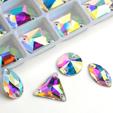 Wholesale! 8 Kinds AAAAA Crystal AB Color Golden Base Sew On Rhinestone Beads, Sew On Stones Spacer buttons for Garment Jewelry