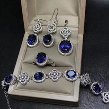 MeiBaPJ Classic Natural Royal Tanzania Blue Topaz Jewelry Set 925 Silver 4 Siut Fine Jewelry Wholesale recommendation(China)