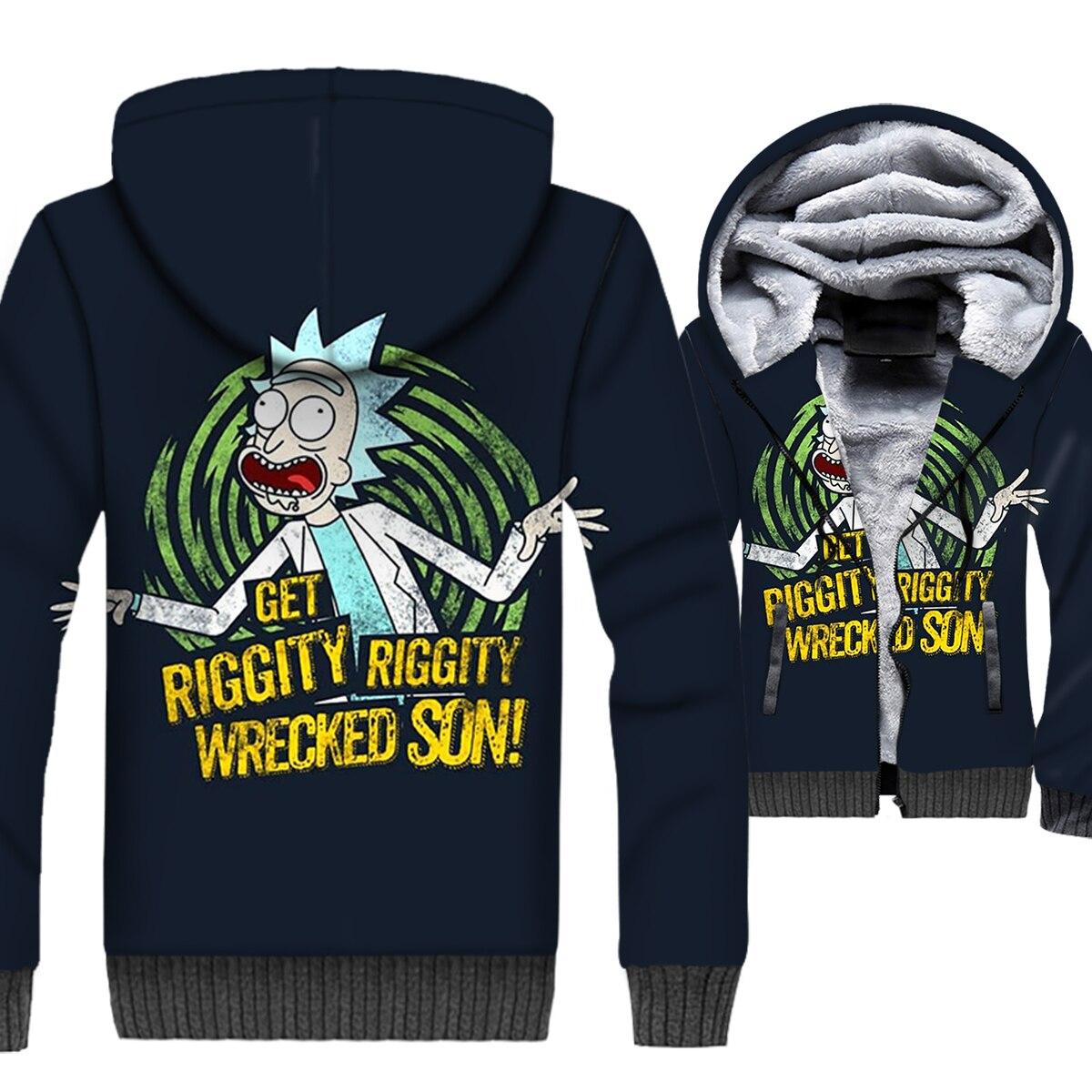 Rick and Morty 3D Print Hoodie Men Get Riggity Wrecked Son Hooded Sweatshirt Winter Thick Fleece Warm Zip up Coat Funny Jacket