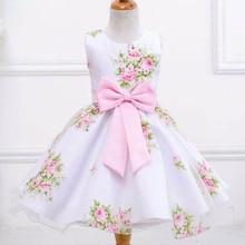 Retail New Style Summer Flower Baby Girl Dress Wedding Girls Kids Party Dress Bow Princess Elegant Dress 2-8 Years LM008