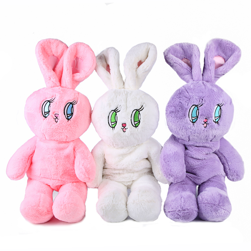Faux Fur Rabbit Mochila Women Cute Korea Embroidery Flannel Backpacks for Girls Lolita Plush Bunny Doll Kawaii Backpack 748 hot cute rabbit backpack kids soft plush animal lolita doll toy bag lady kawaii long ears bunny rucksack for girls gift