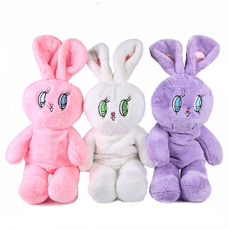 Faux Fur Rabbit Mochila Women Cute Korea Embroidery Flannel Backpacks For Girls Lolita Plush Bunny Doll Kawaii Backpack 748