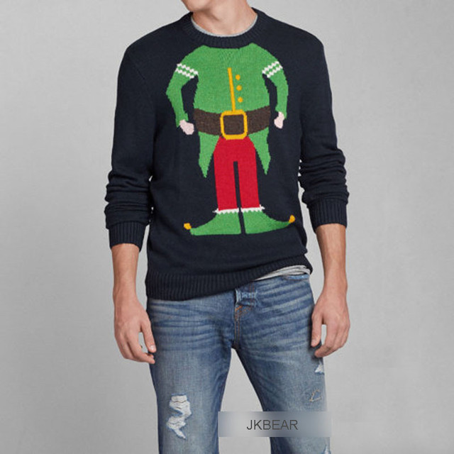 Limited Edition Ugly Christmas Sweaters For Men With Santa Claus Wearing Green Tuxedo Red Pants Pattern