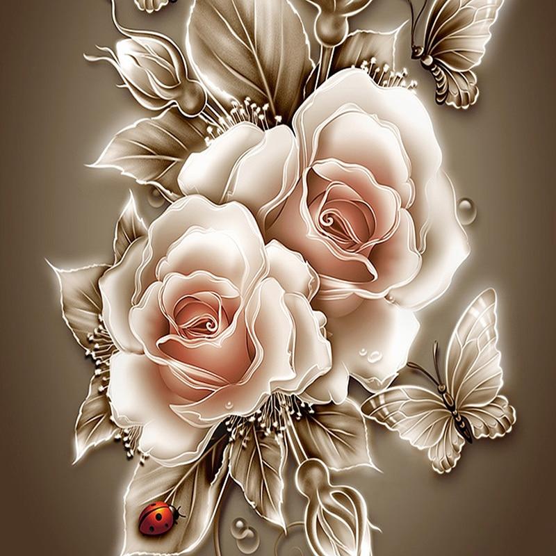Rhinestone pintura cristal Decoración para el hogar DIY diamante pintura rosa y mariposa 3D Cruz puntada patrón diamante bordado ZX