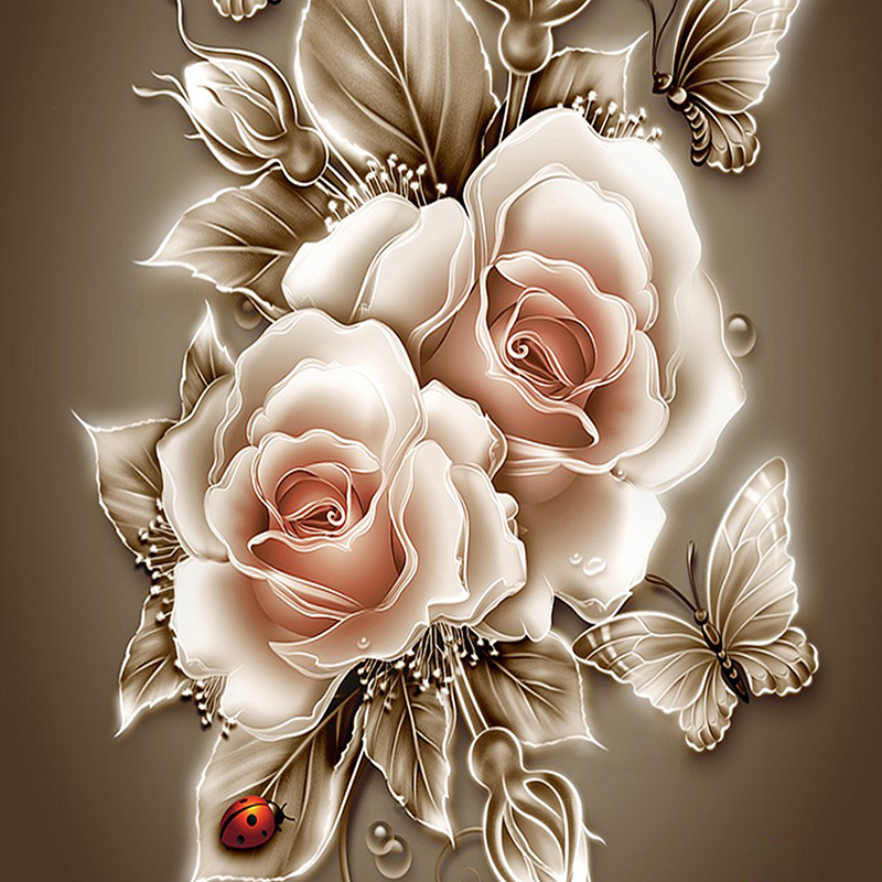Rhinestone painting crystal Home Decor DIY Diamond painting Rose &butterfly 3D cross stitch pattern diamond embroidery zx