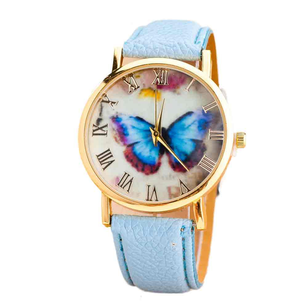 #5001 Fashion High Quality Woman Watch Womens Fashion Butterfly Style Leather Band Analog Quartz Wrist Watch цена
