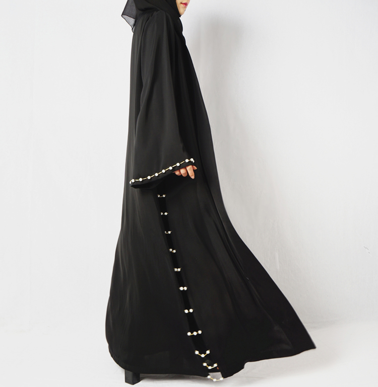 Beading Muslim Dress Abaya in Dubai Islamic Clothing Women Jilbab Djellaba Robe Musulmane Turkish Baju Robe Kimono Kaftan