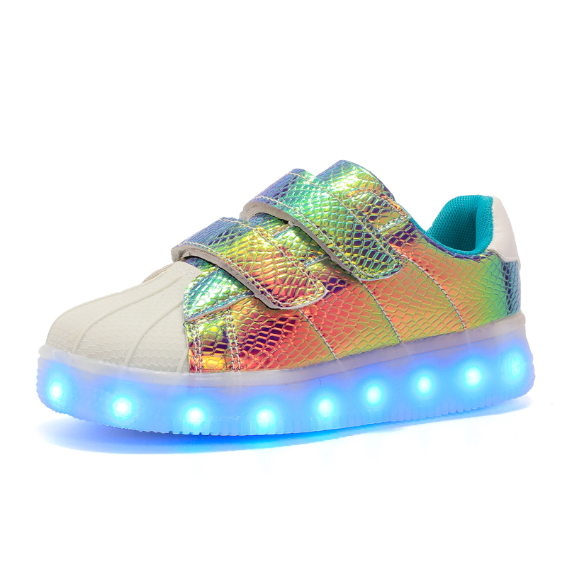 JawayKids New USB Rechargable Led Kids Shoes With Light,boys Girls Superstar Shoes Women,Men Fashion Light Up Led Glowing Shoes