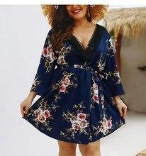 2019 Plus Size Dress For Women Floral Print Sexy Deep V Neck Dress Loose Ladies Long Sleeve Wrap Summer Dress plus deep v neckline fluted sleeve geo print dress