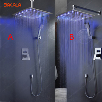 Free Shipping B R Brass Bathroom In Wall Led Rainfall Shower Set 16 Head Shower Led