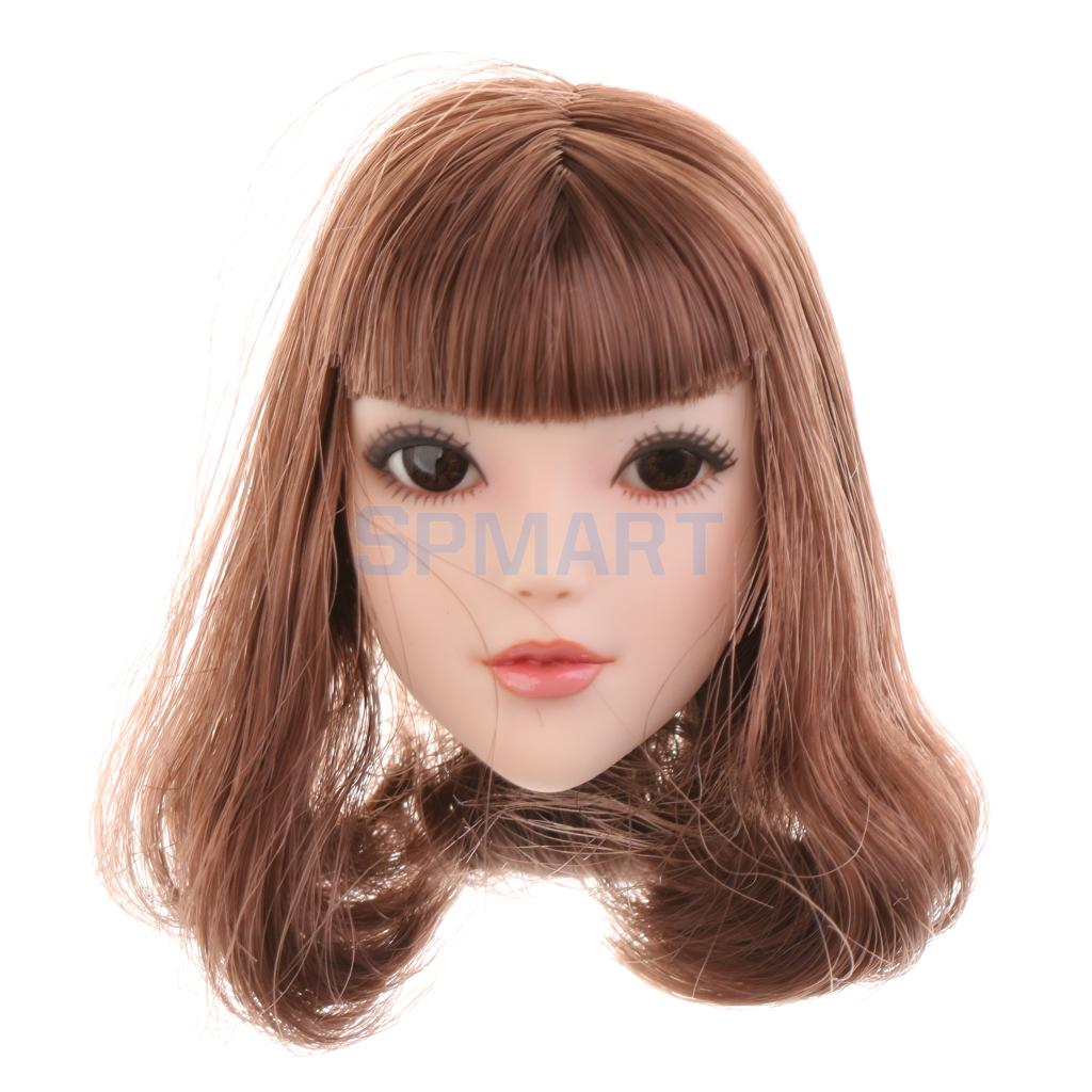 цены 1/6 Scale Beautiful Girl Head Sculpt Brown Neat Bang Hair Head Model Toy for 12'' Action Figure Accessories