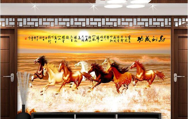 3d Wallpaper Custom Mural Non-woven 3d Room Wallpaper Horses Running In Grassland Background Wall Photo 3d Wall Mural Wallpaper
