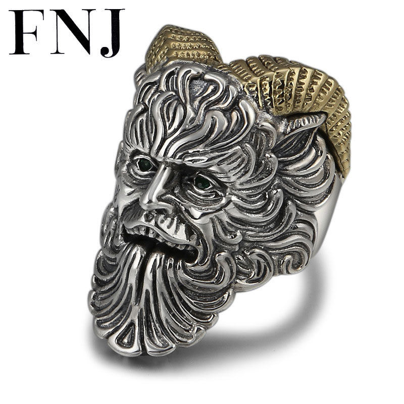 FNJ Punk Priest Ring 925 Silver Jewelry New Punk S925 Sterling Silver Rings for Men Adjustable