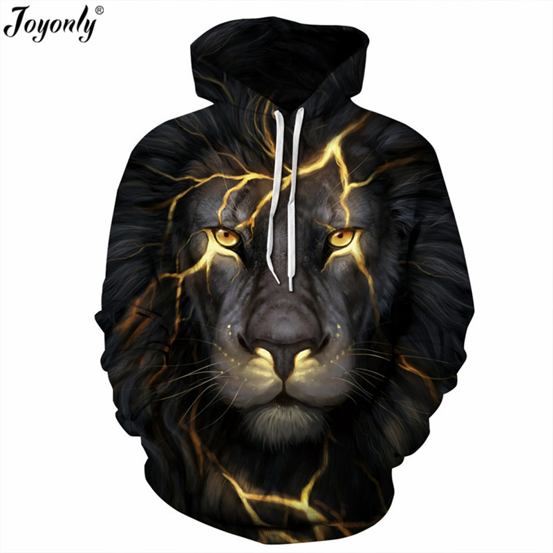 Joyonly 2018 Halloween Flash Light Lion Hoodies Women Men 3d Punk Sweatshirts Animal Head Print Hooded Hoodie Casual Hoody Tops