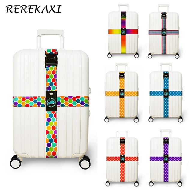 REREKAXI Travel Suitcase Luggage Straps Polyester Baggage Cross Multicolor Packing Belt Trolley Tie Rope Travel Accessories
