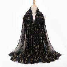 Geometry hijab scarf gilded cotton and linen scarf Muslim ladies baotou travel sunscreen shawl female geometry tassel edge scarf