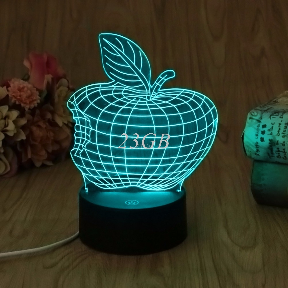 USB Apple LED Night Light Novelty 7 Colors Changing 3D Desk Table Lamp Home Decor A21_17 new 3d retro ancient sailing sea boat ship led lamp chinese style 7 colors changing illusion night light usb table desk decor