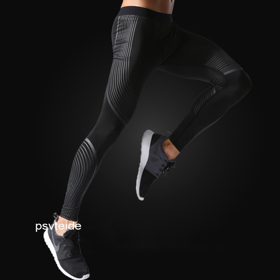 Streamers pants Bodyboulding tights Men's Compression tights elatic printing Fitness tights slim Trousers running sport leggings rib knit tights