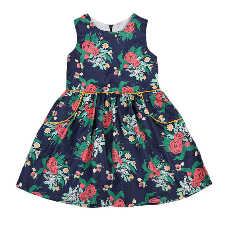 2017 Retro Floral Clothes Newborn Kids Baby Girls Flower Graceful Dress Princess Party Pageant Sleeveless Lovely Dress Sundress 2pcs ruffles newborn baby clothes 2017 summer princess girls floral dress tops baby bloomers shorts bottom outfits sunsuit 0 24m