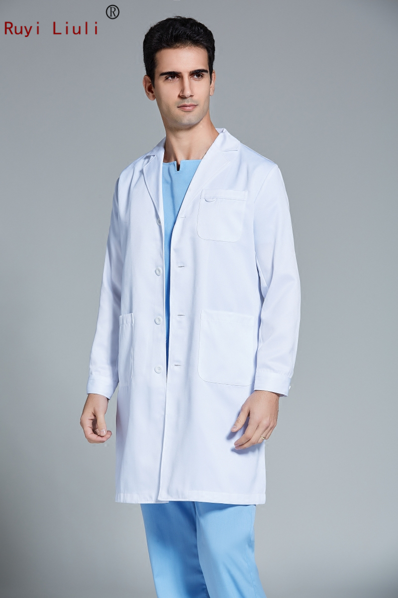 Men's version of long-sleeved white coat oral surgeon plastic surgery hospital dental coat work clothes Operating gown surgical image