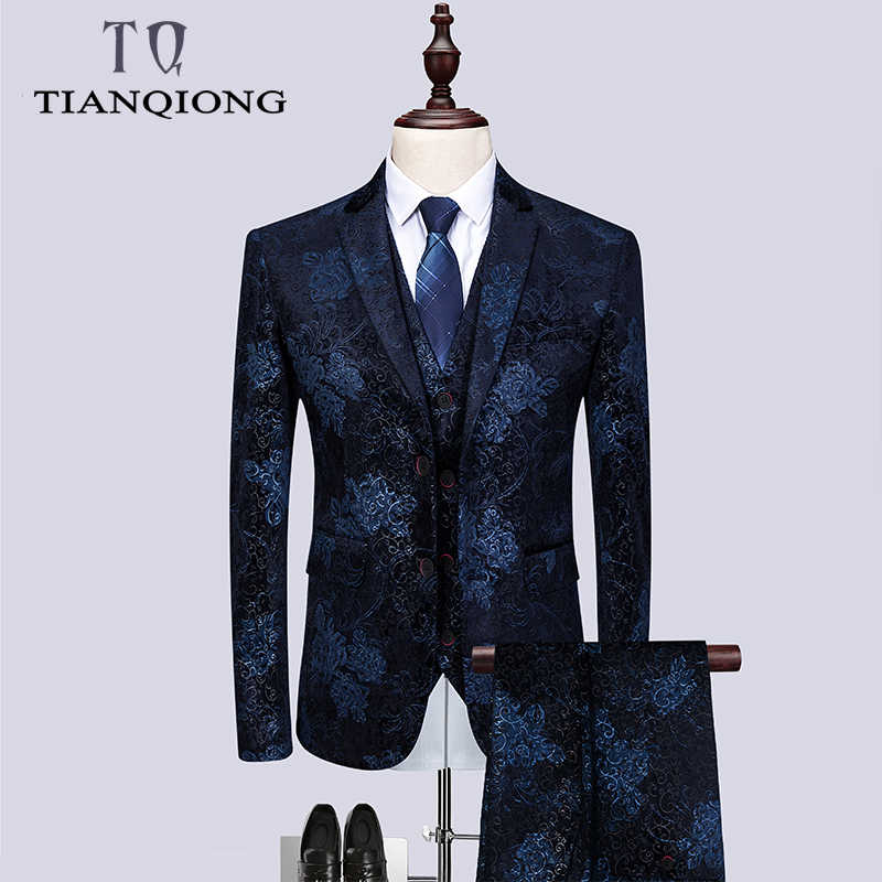 Brand Men Wedding Suits 2019 Spring Flowers 3 Piece Suits with Pants Men 4XL 5XL6XL Navy Blue Prom Suit Stage Wear