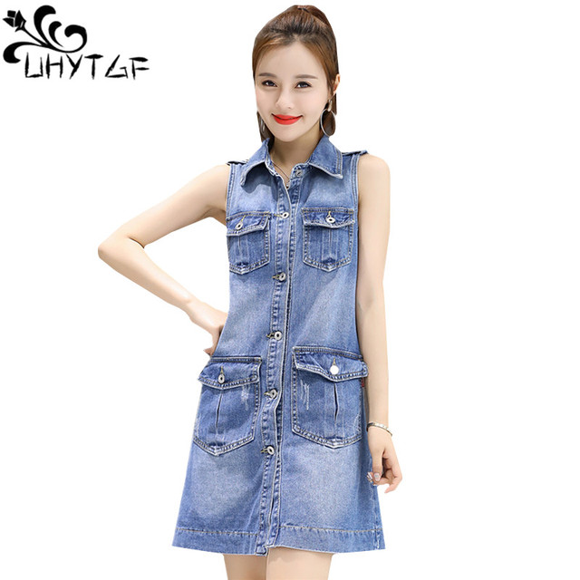 67fe7f1772d UHYTGF New Denim Jacket Vest Women Summer thin Coat Plus size long Vest  Ladies Sleeveless Jeans jacket chalecos para mujer545