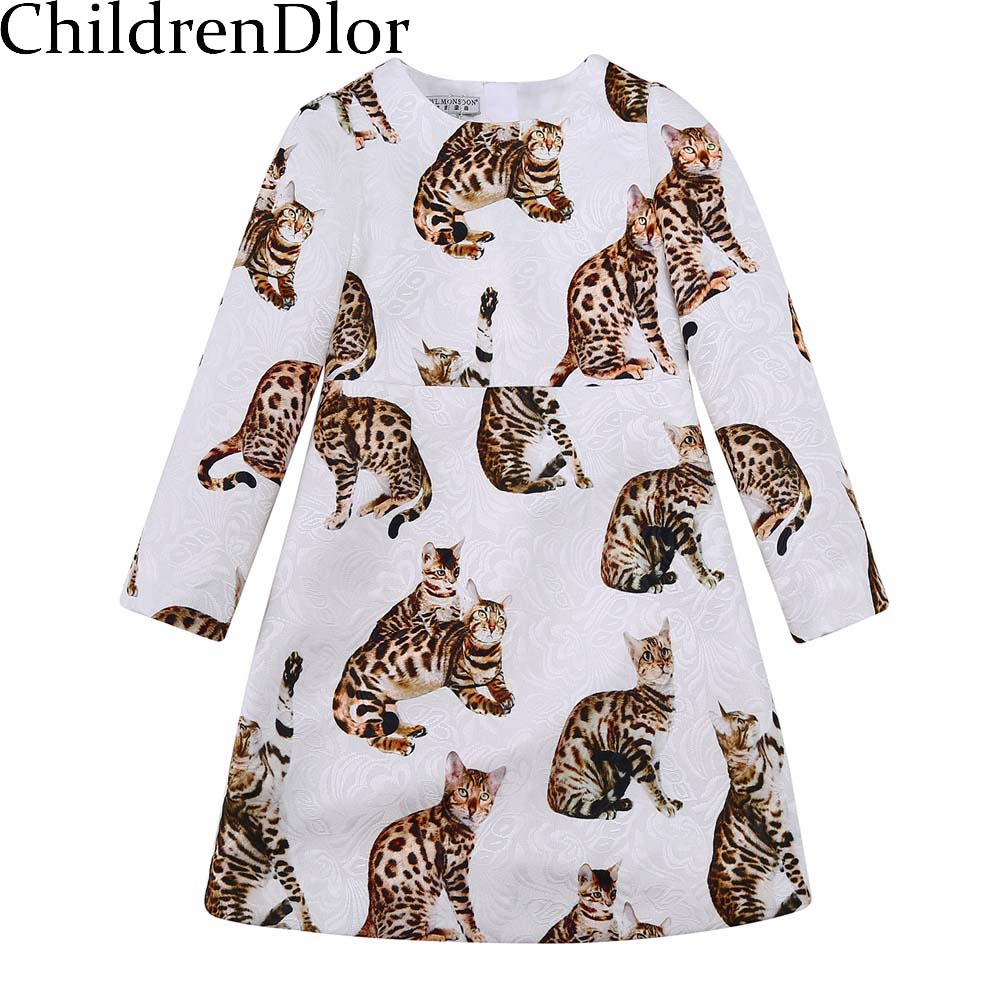 Princess Costume Girl Clothes Long Sleeve Cat Dresses 2017 Casual Winter Kids Party Dress Robe Noel Fille Children Clothing girl dress princess floral autumn long sleeve gown party dresses kids clothes bow flower robe fille rapunzel kids dress 12 year