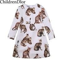 Princess Dress Girl Clothes 2016 Brand Kids Dresses For Girls Costumes Disfraz Infantil Cat Print Design
