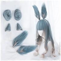 Lolita Harajuku Wig Gradient Blue Mixed Color Cosplay Horns Buns Bunny Ears Sweet Curly Harajuku Long Synthetic Hair Adult Girls