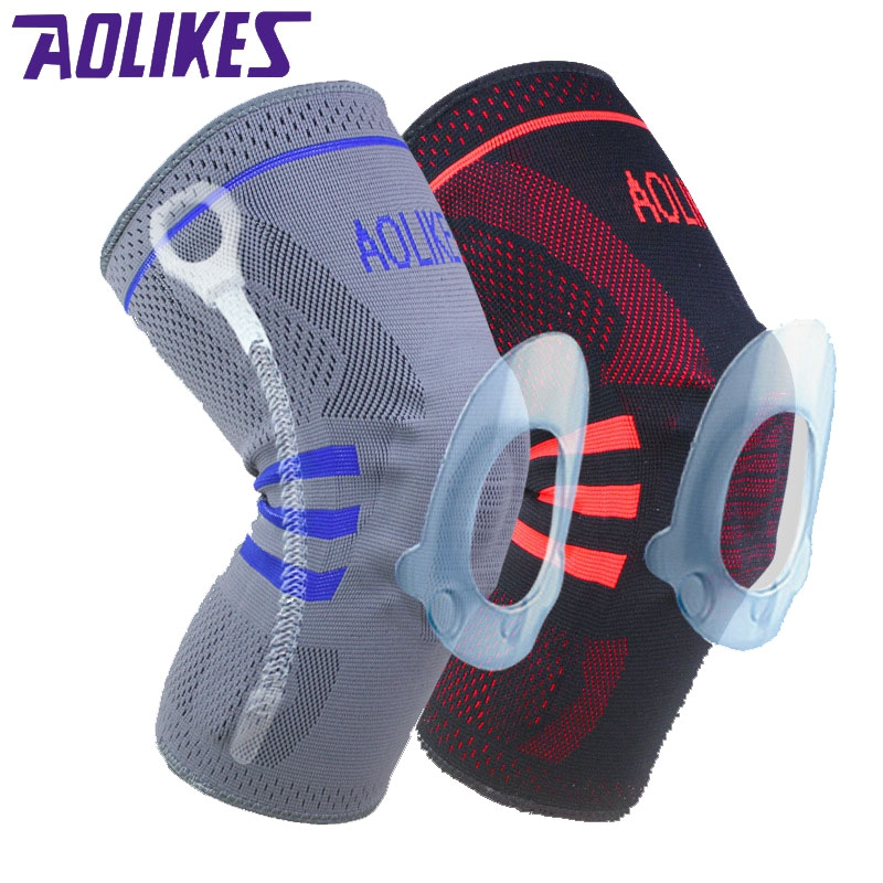AOLIKES 2 Pcs/pair Patella Knee Sliders Damping Kneepads Basketball Knee <font><b>Pads</b></font> Supporting Brace Wrap Protector Cycling Volleyball