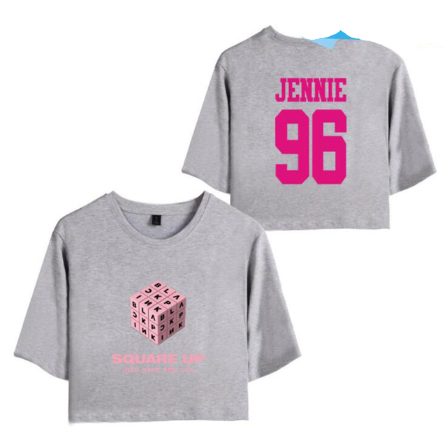 43310a84 Black Pink KPOP BLACKPINK SQUARE UP Album Crop Top Women Cropped T Shirt  Casual Tees Letter