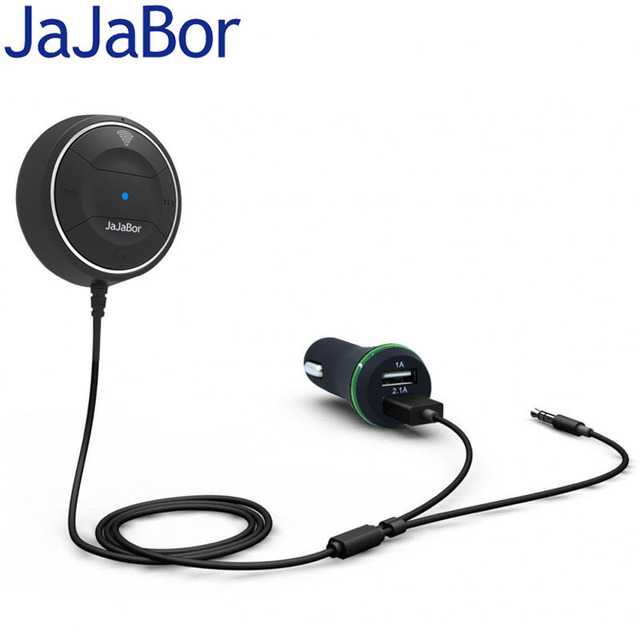JaJaBor Bluetooth 4.0 Hands Free Car kit with NFC Function +3.5mm AUX Receiver Music Aux Speakerphone 2.1A USB Car Charger