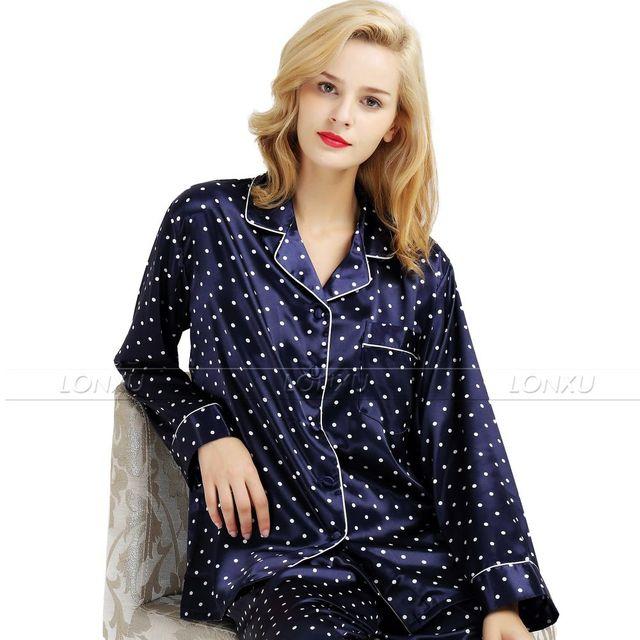 Para mujer de Satén de Seda Pajamas Set Pijama pijama Conjunto ropa de Dormir Loungewear S, M, L, XL, 2XL, 3XL Plus _ _ Fit All Seasons
