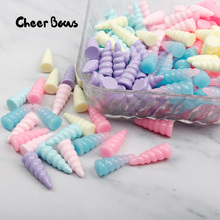 Cheer Bows Planar Resin Cute Unicorn Horn kawaii Cabochons Accessories Pendant DIY Crafts Material Decoration 6pcs