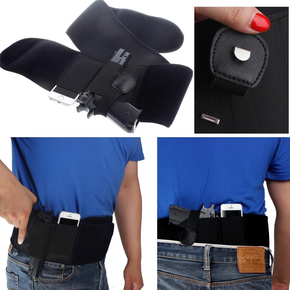 Vapanda neopreno hombres/mujeres banda de vientre oculto pistola pistolera derecha/mano izquierda para Glock 17,19, ruger LCP etc ..