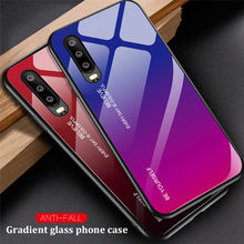 For Huawei P30 PRO P20 Lite Psmart Y9 2019 Case Gradient TPU Frame + Tempered Glass P smart Plus Colorful Luxury Cover