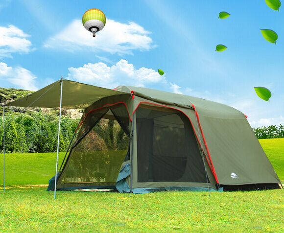New style ultralarge one hall one bedroom double layer 5-8 person waterproof high quality camping tourist tent