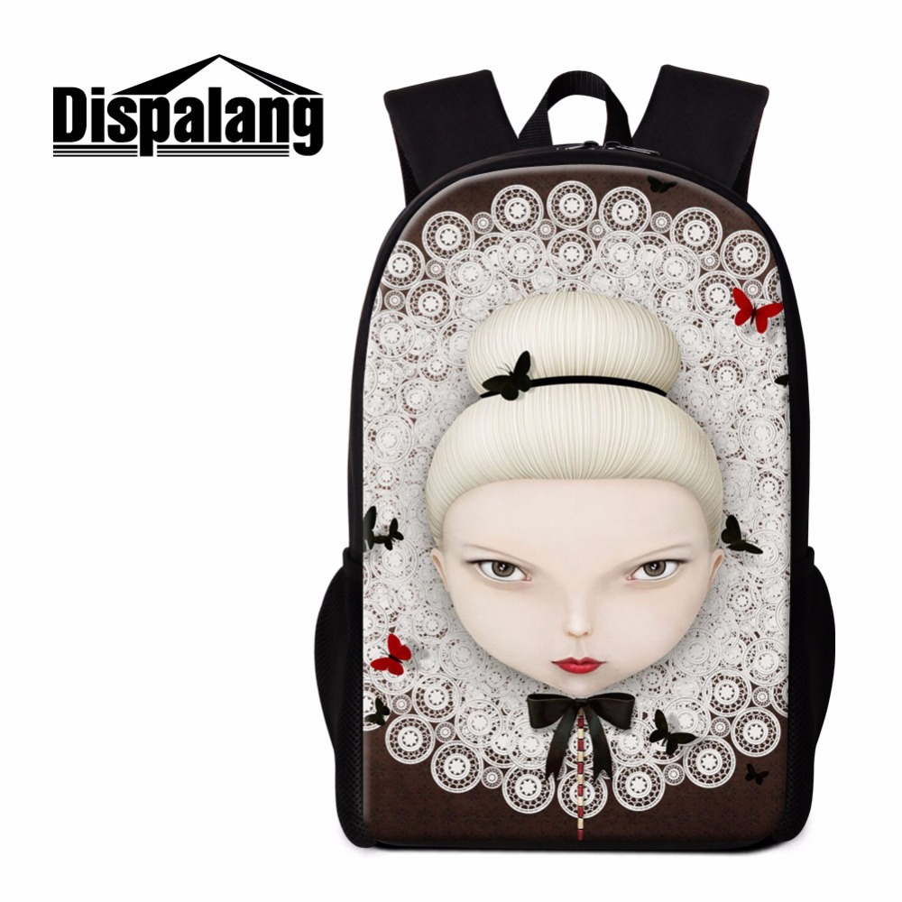Dispalang Cartoon Backpack for Girls Doll print School Bookbags Designer Back Pack for Children Girly Rucksacks Student Mochilas