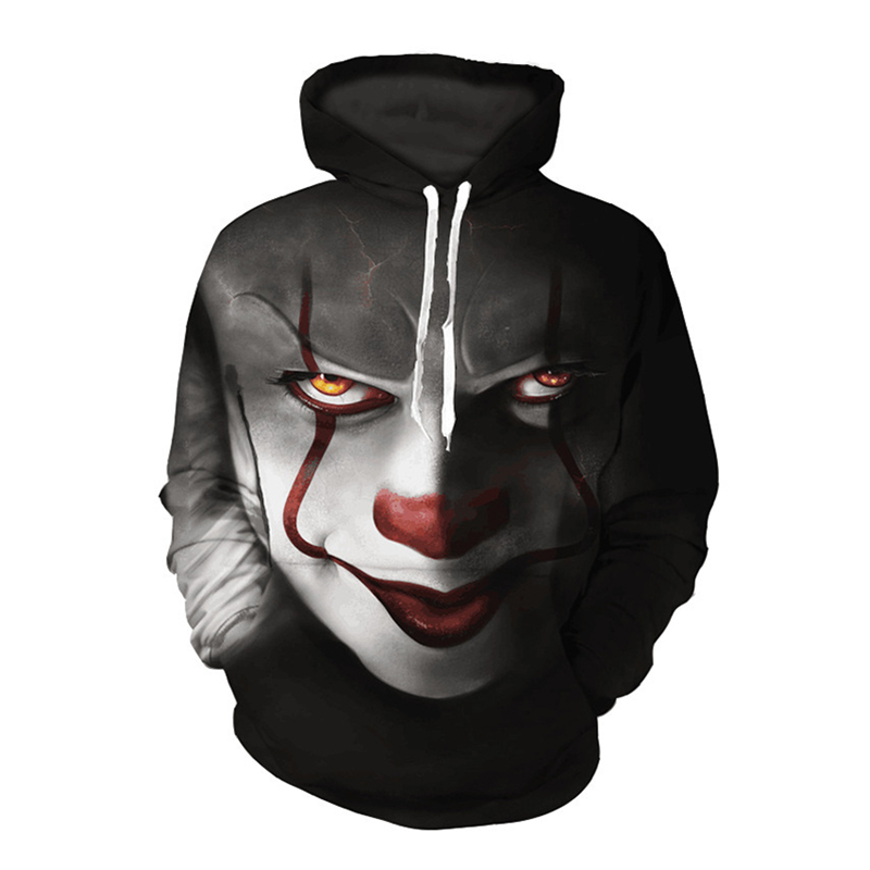 New Fashion Horror Movie Clown Soul Back Hoodie 3d Skull Sweatshirt COSPLAY Sportswear Men Women Unisex Fleece