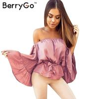 Sexy Off Shoulder Ruffle Satin Blouse Shirt Soft Flare Sleeve Bow Summer Tops Elegant Glossy Party