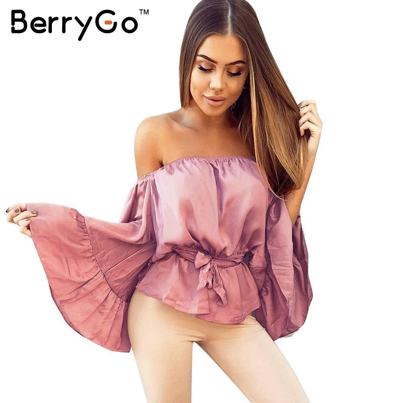 Berrygo sexy fuera del hombro de satén de la colmena camisa de la blusa suave fl
