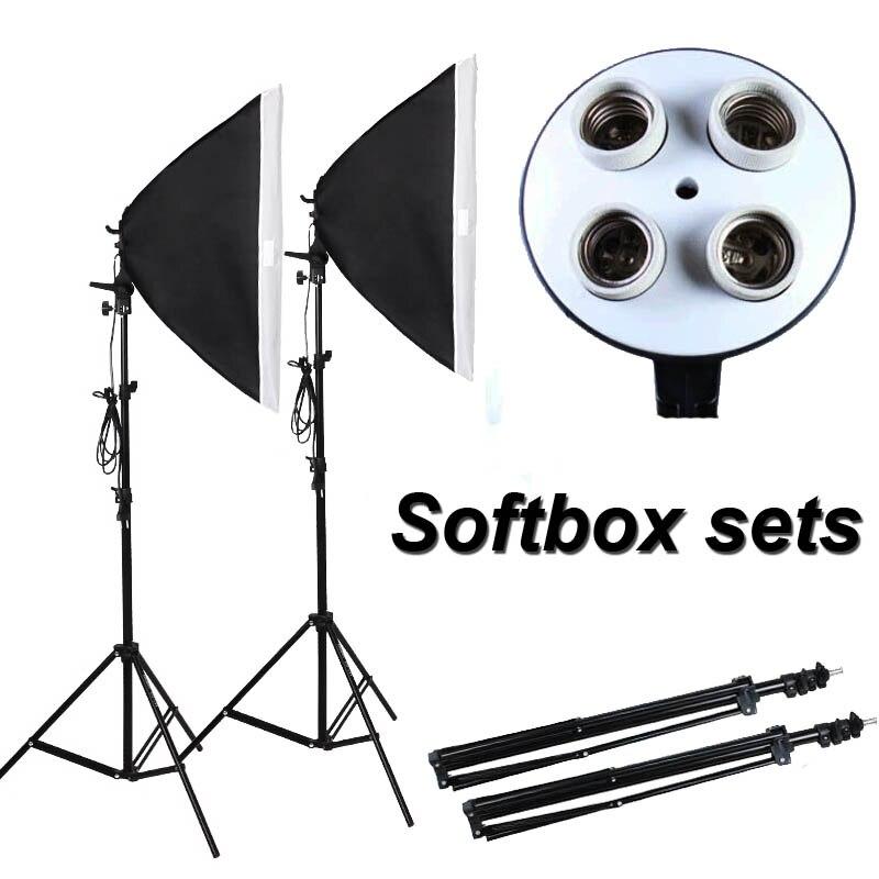 Kit Softbox équipement photographique accessoires Photo Studio vidéo support de lampe 4 prises 2 pièces 50x70cm Softbox + 2m support de lumière